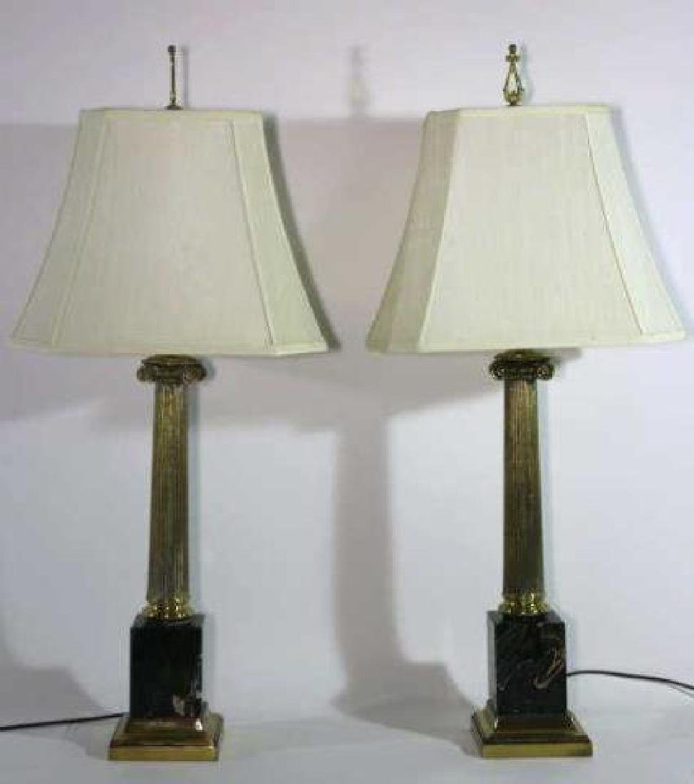 CARRERA MARBLE BASED CLASSICAL COLUMN LAMPS - 5