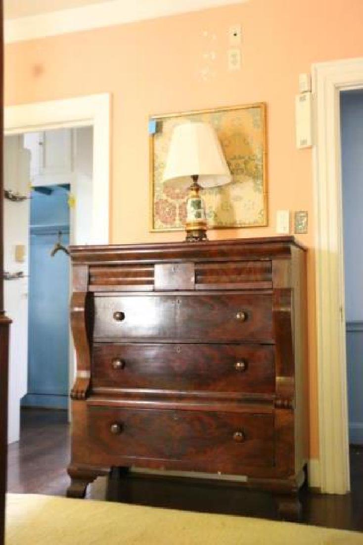 AMERICAN ANTIQUE EMPIRE MAHOGANY CHEST OF DRAWERS