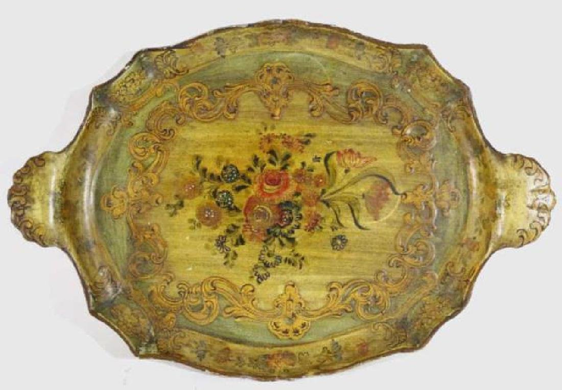 FRENCH ANTIQUE FLORAL TWIN HANDLE PAPER MACHE TRAY