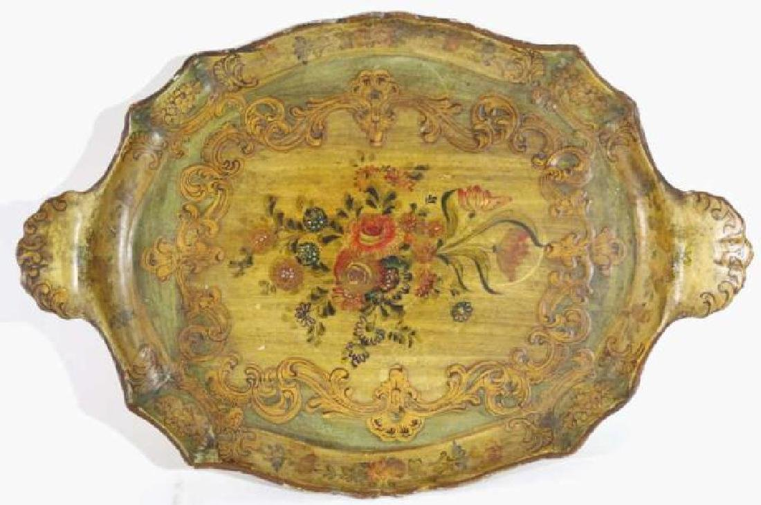 FRENCH ANTIQUE FLORAL TWIN HANDLE PAPER MACHE TRAY - 5