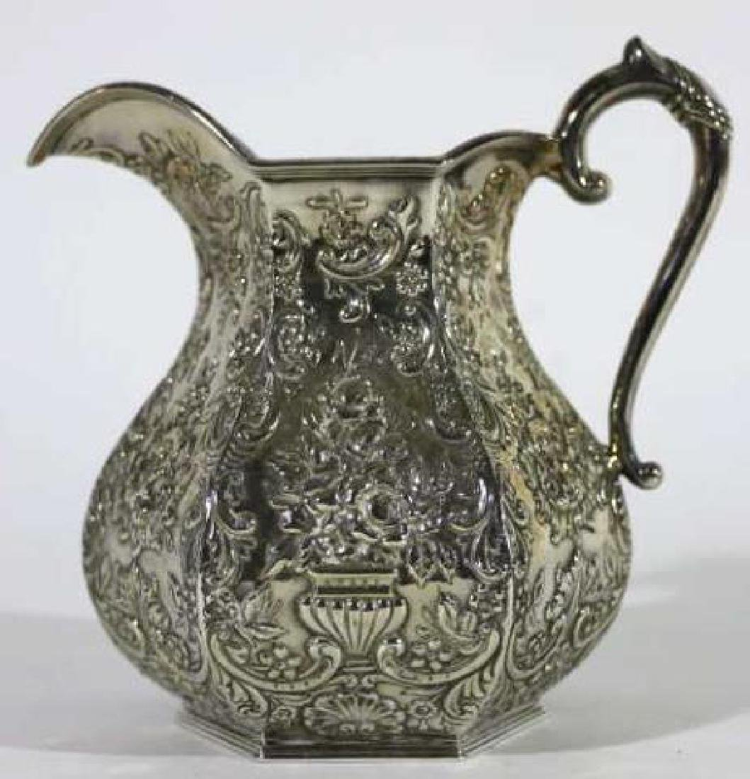 HAND CHASED SILVER PITCHER - 4