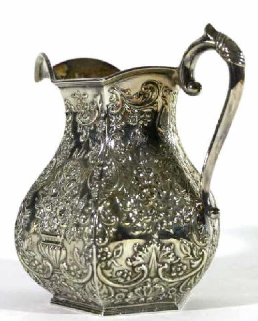 HAND CHASED SILVER PITCHER - 5