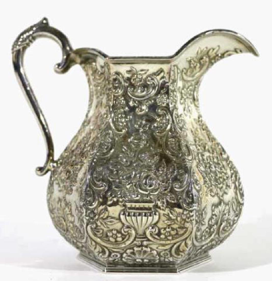 HAND CHASED SILVER PITCHER - 6