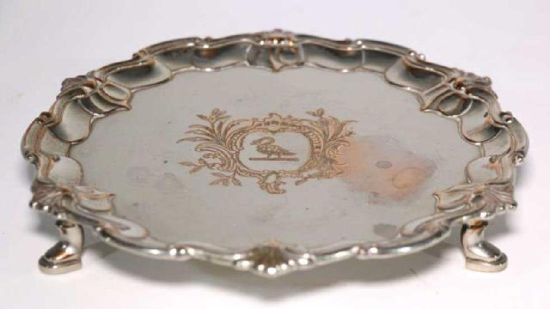 RAIMOND SHEFFIELD ROSED FOOTED SILVER TRAY