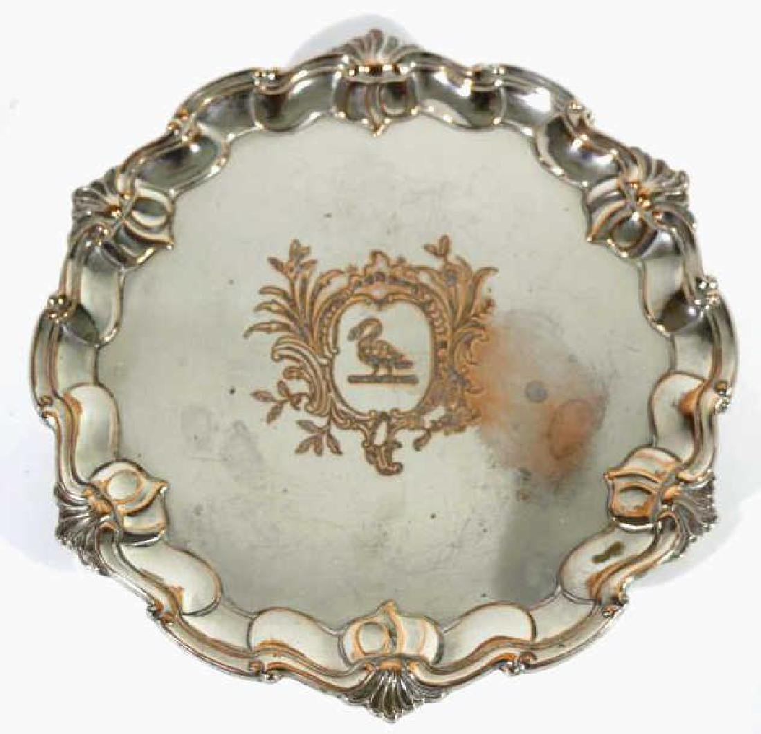 RAIMOND SHEFFIELD ROSED FOOTED SILVER TRAY - 2