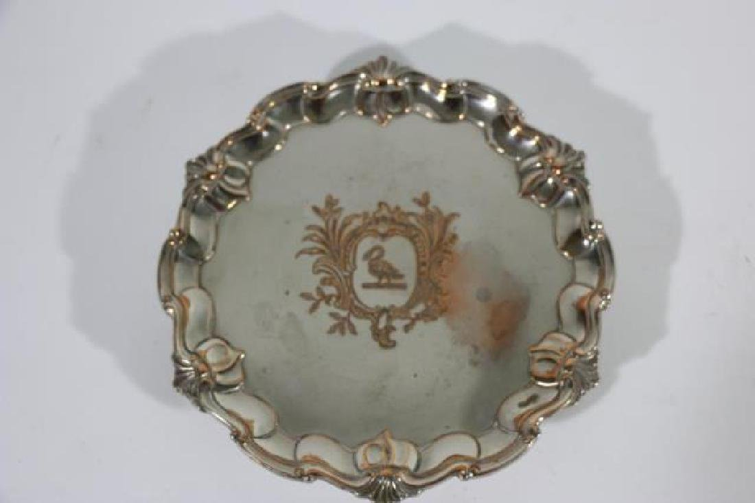 RAIMOND SHEFFIELD ROSED FOOTED SILVER TRAY - 3