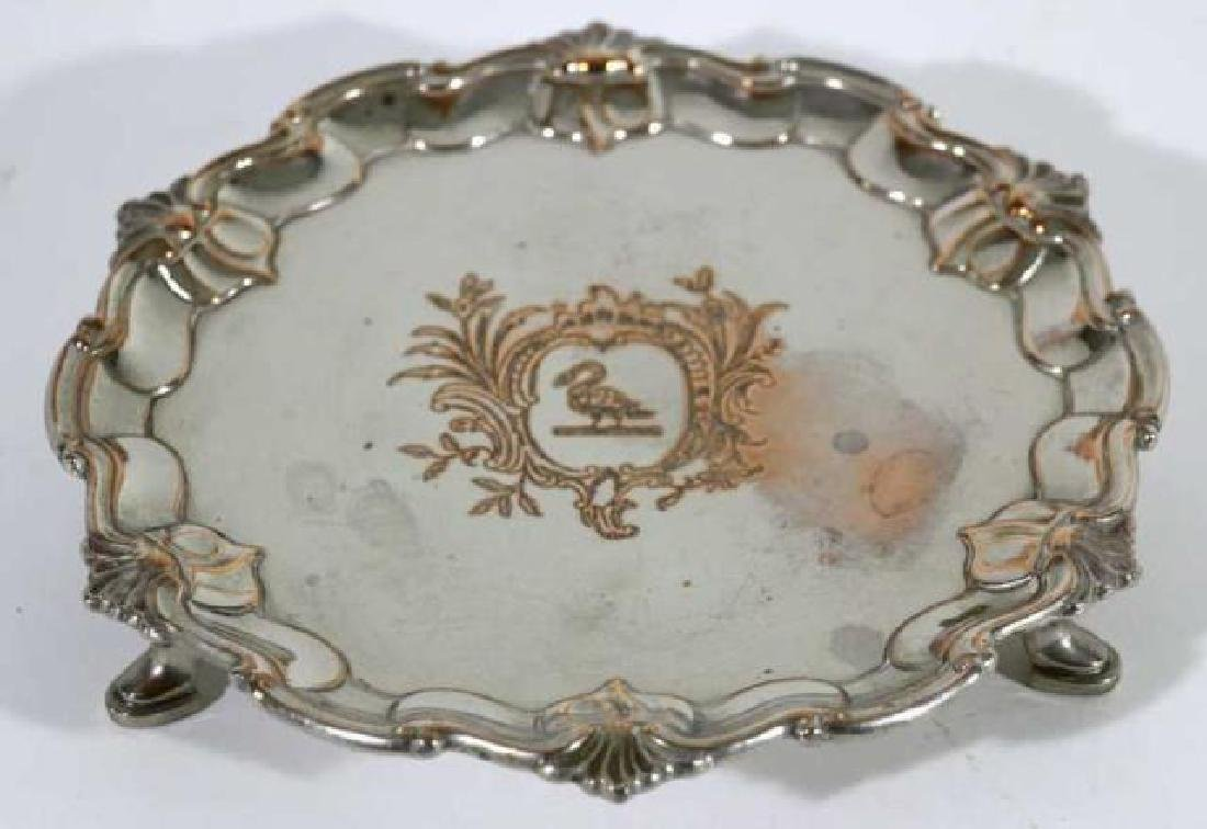 RAIMOND SHEFFIELD ROSED FOOTED SILVER TRAY - 7