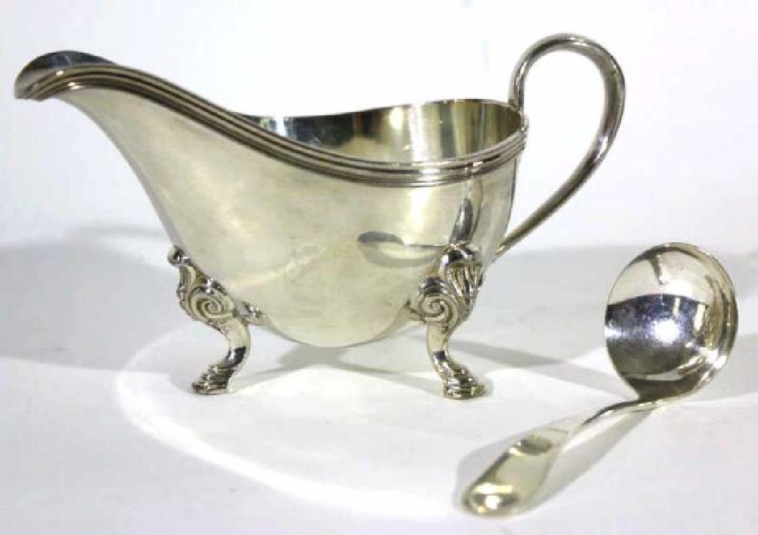 SILVER HOOF FOOTED GRAVY BOAT & LADEL - 2