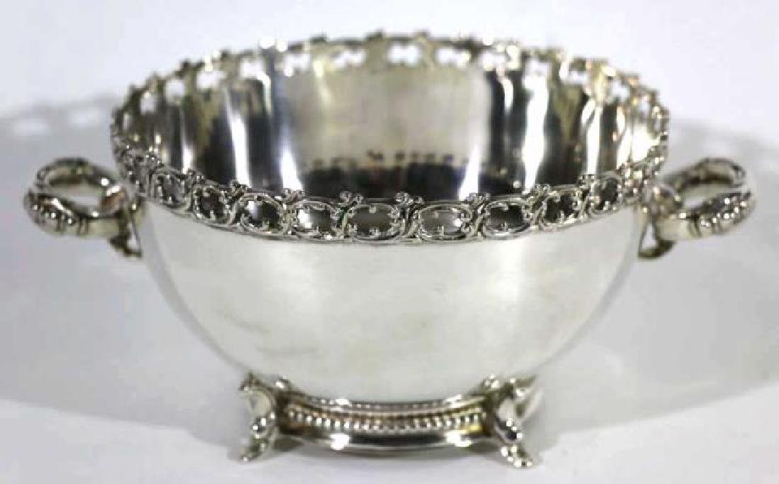 FOOTED SILVER TWIN HANDLE FILIGREE EDGED BOWL