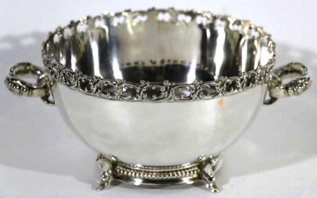FOOTED SILVER TWIN HANDLE FILIGREE EDGED BOWL - 6