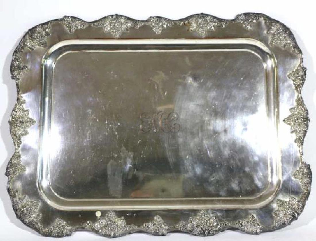 SHEFFIELD  ANTIQUE SILVER SERVING TRAY