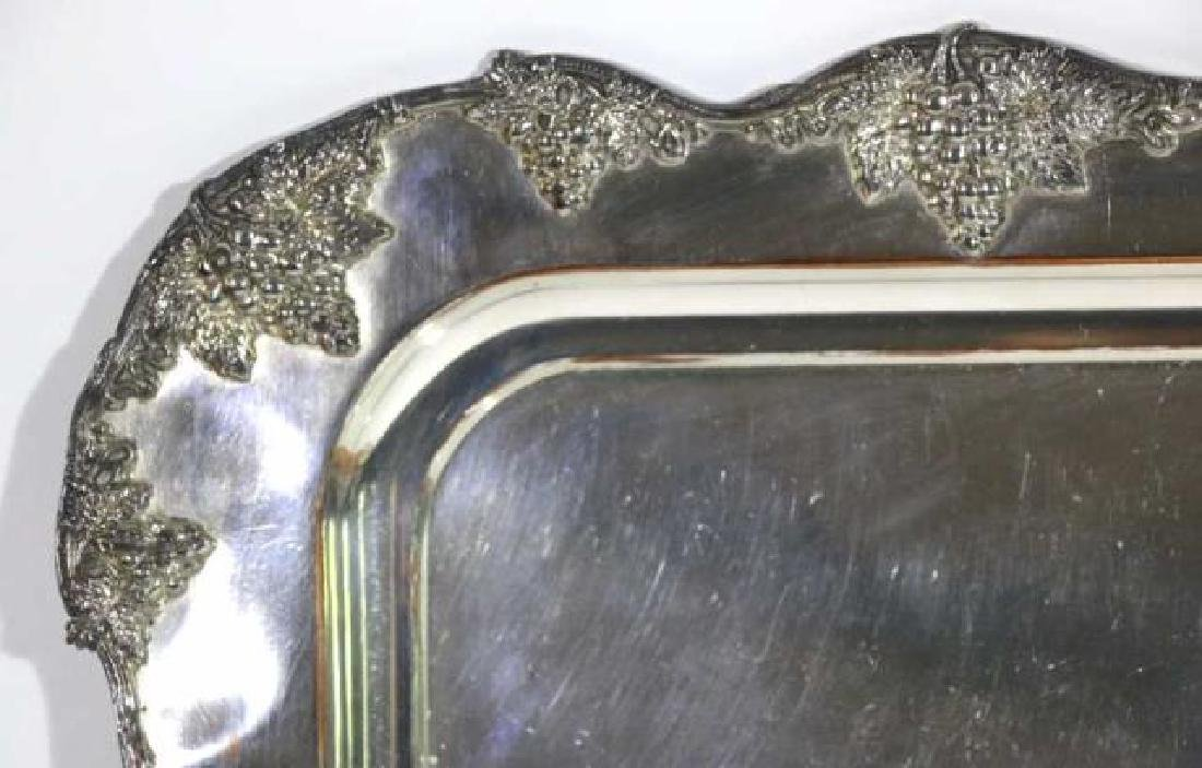SHEFFIELD  ANTIQUE SILVER SERVING TRAY - 3