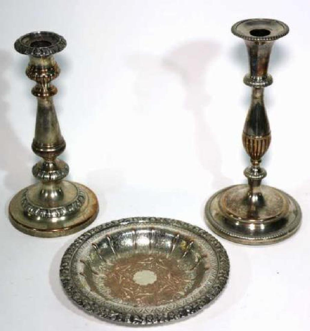 ENGLISH SHEFFIELD ANTIQUE ROSED SILVER GROUPING