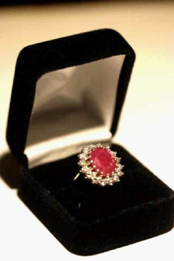 NATURAL RUBY & DIAMOND 14KWG COCKTAIL RING