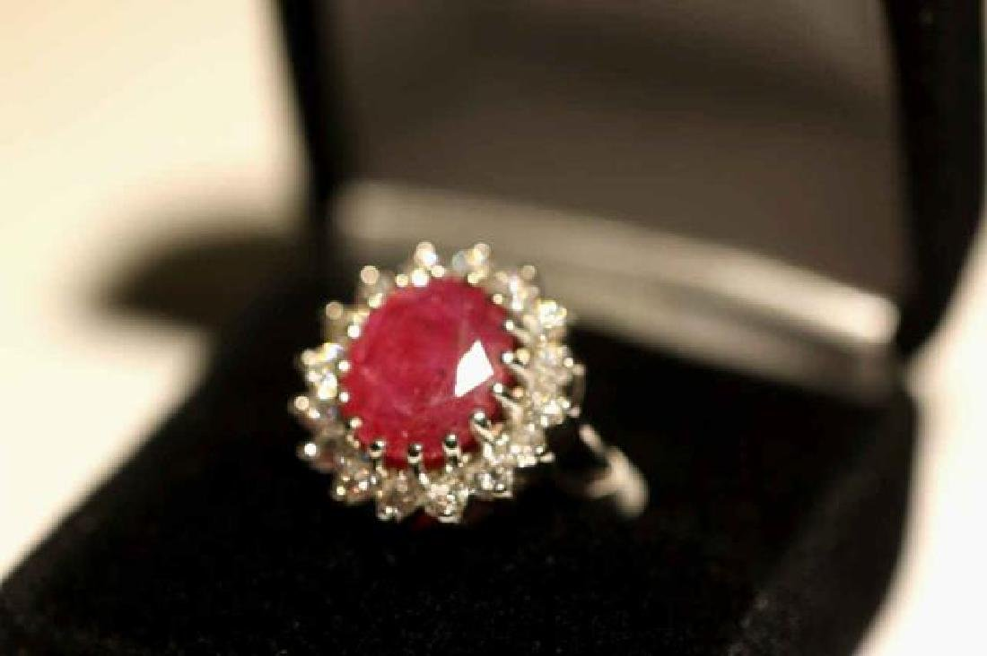 NATURAL RUBY & DIAMOND 14KWG COCKTAIL RING - 2