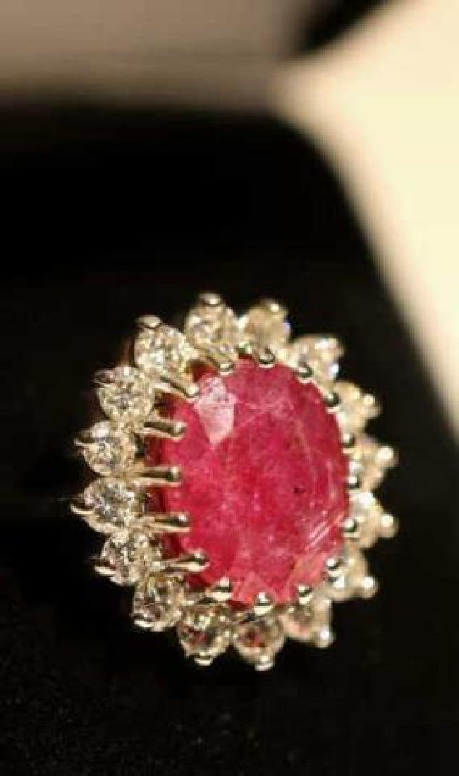 NATURAL RUBY & DIAMOND 14KWG COCKTAIL RING - 3