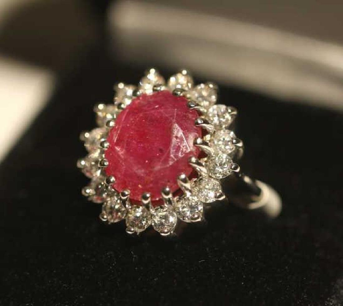NATURAL RUBY & DIAMOND 14KWG COCKTAIL RING - 4