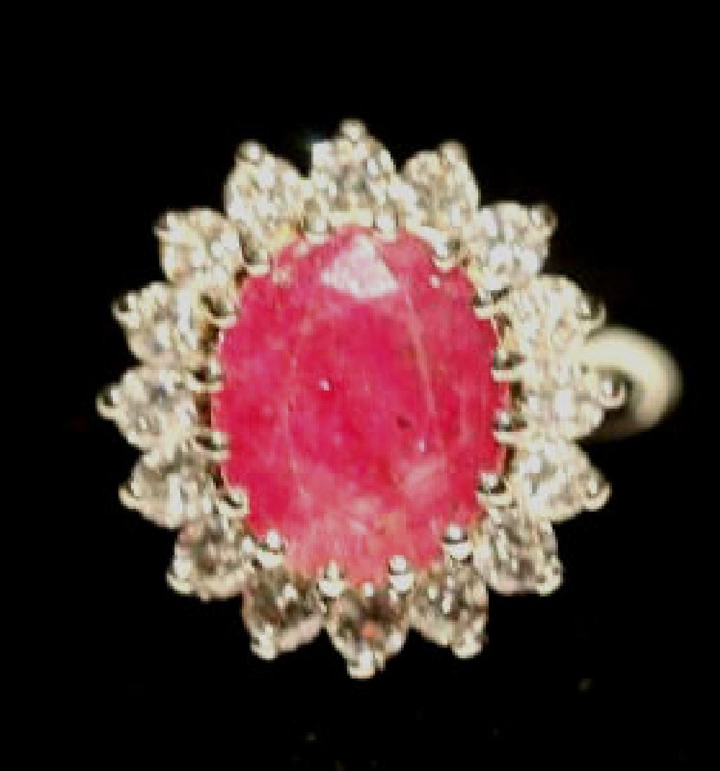NATURAL RUBY & DIAMOND 14KWG COCKTAIL RING - 5
