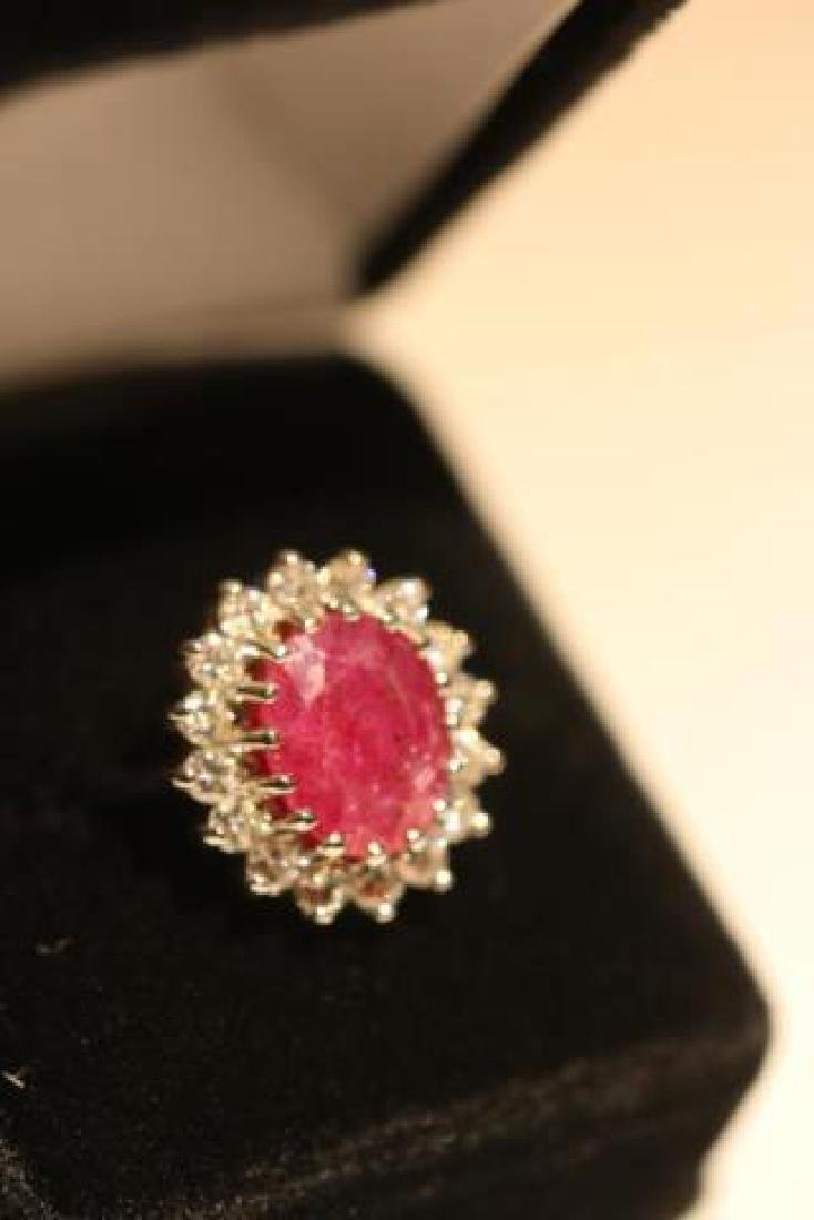 NATURAL RUBY & DIAMOND 14KWG COCKTAIL RING - 6