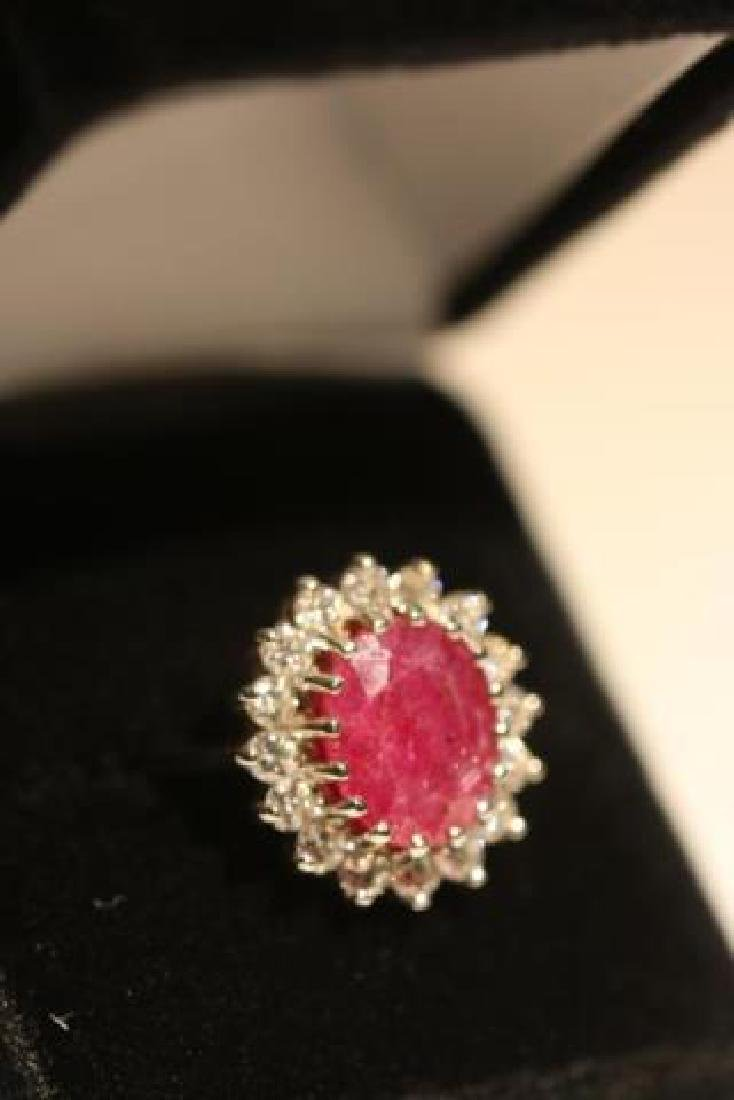 NATURAL RUBY & DIAMOND 14KWG COCKTAIL RING - 7