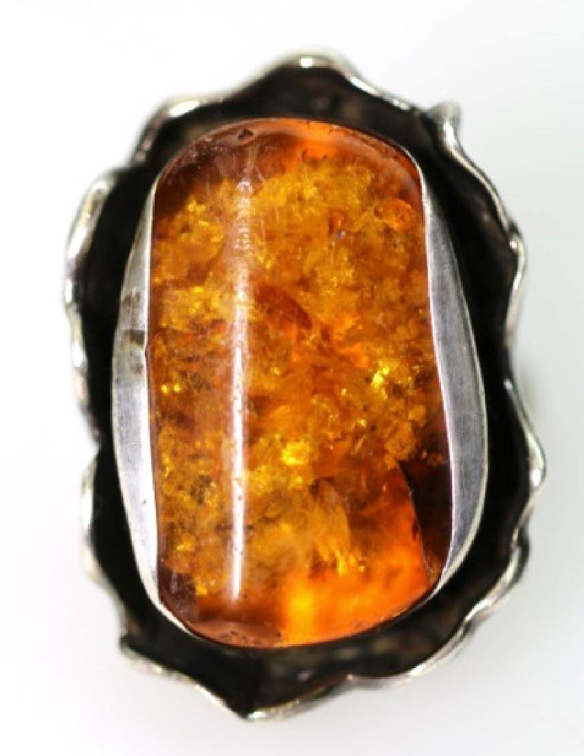 STERLING SILVER / AMBER LARGE CUSTOM RING
