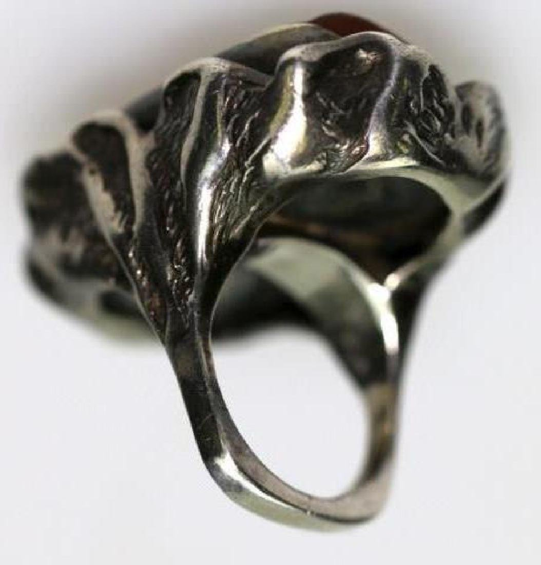 STERLING SILVER / AMBER LARGE CUSTOM RING - 4