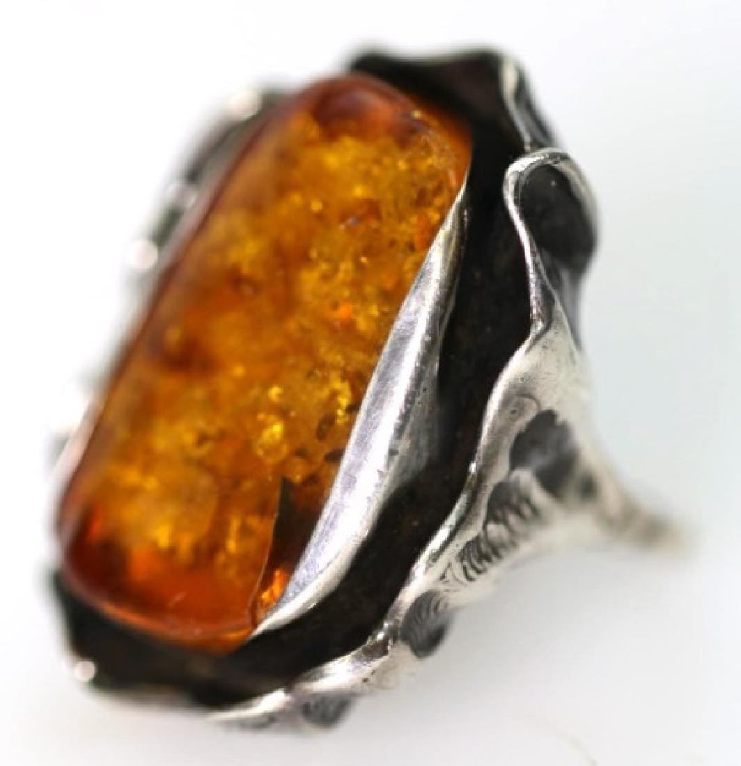 STERLING SILVER / AMBER LARGE CUSTOM RING - 5