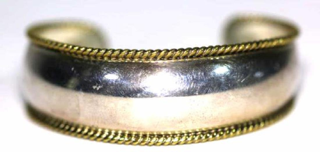 STERLING SILVER & ROPE GOLD EDGED BANGLE CUFF