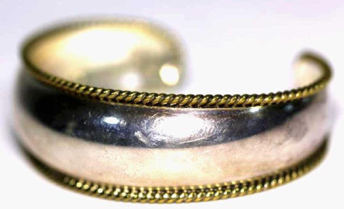 STERLING SILVER & ROPE GOLD EDGED BANGLE CUFF - 2