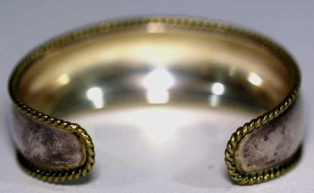 STERLING SILVER & ROPE GOLD EDGED BANGLE CUFF - 4