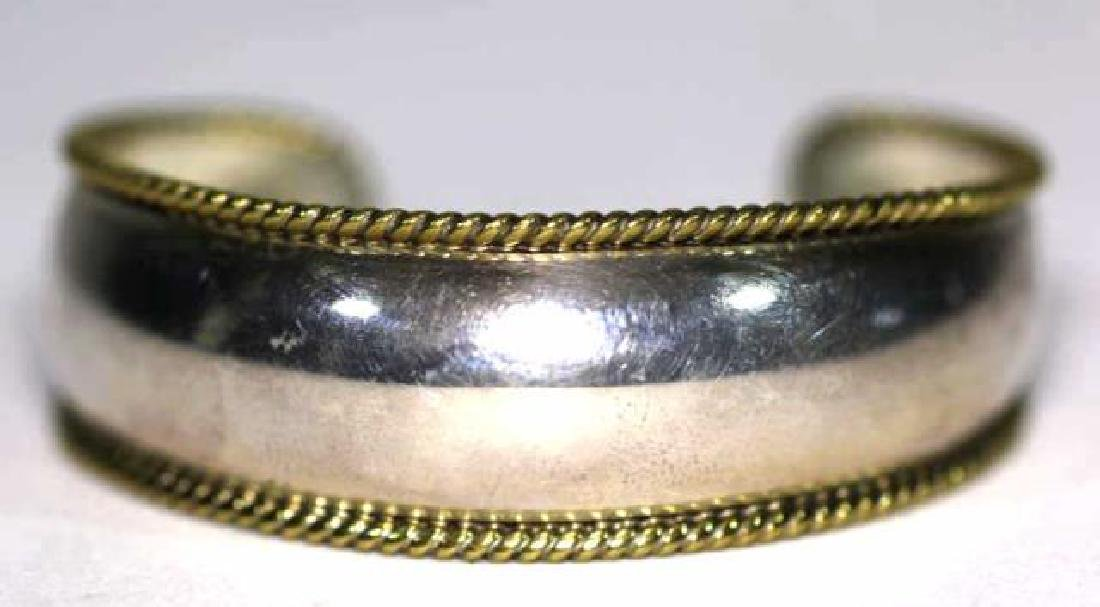 STERLING SILVER & ROPE GOLD EDGED BANGLE CUFF - 5