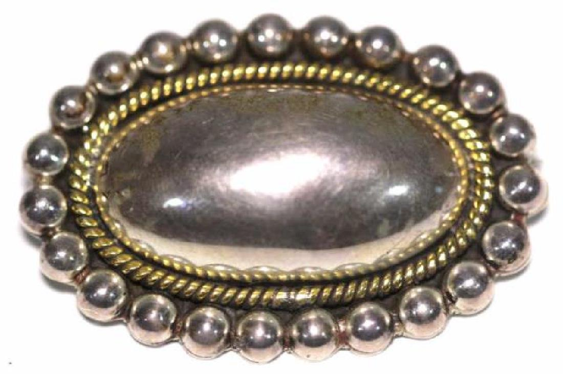 STERLING SILVER OVAL CONVEX GOLD ROPED EDGE PIN