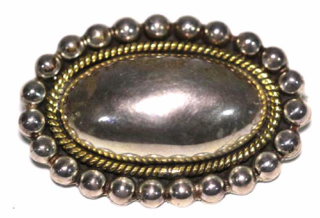 STERLING SILVER OVAL CONVEX GOLD ROPED EDGE PIN - 3