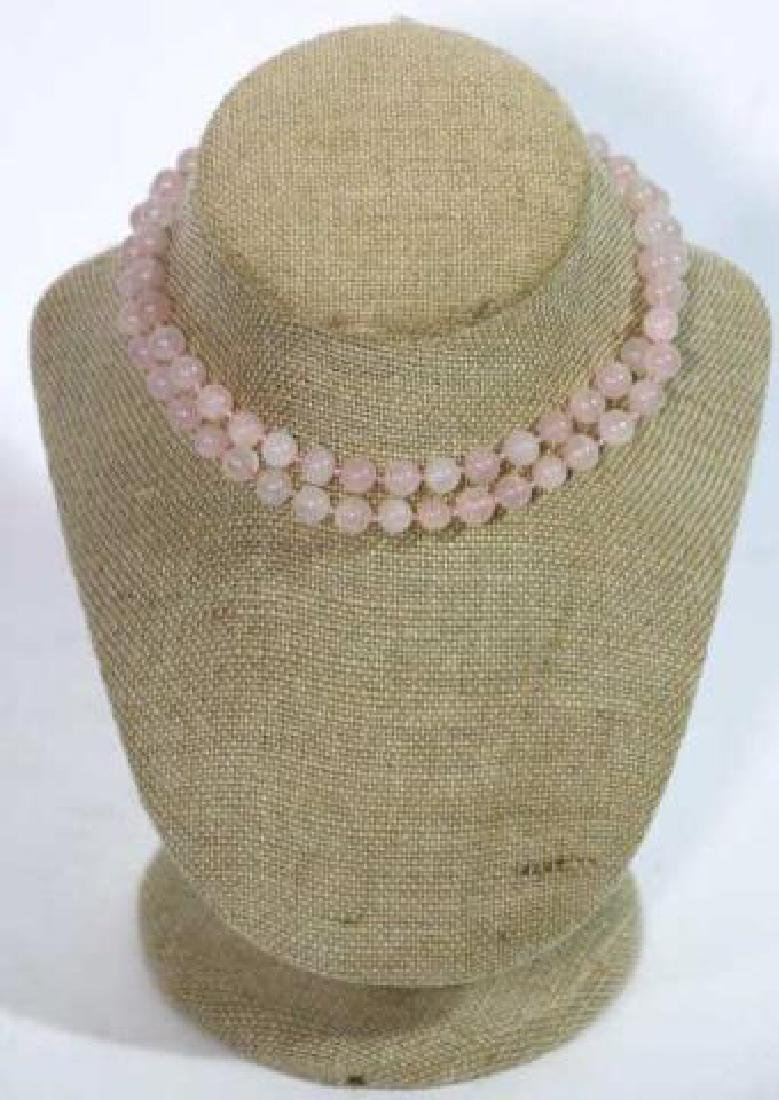 CHINESE HAND KNOTTED ROSE QUARTZ VINTAGE BEADS