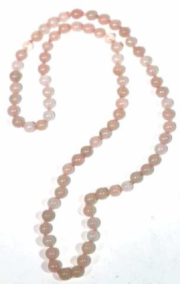 CHINESE HAND KNOTTED ROSE QUARTZ VINTAGE BEADS - 2