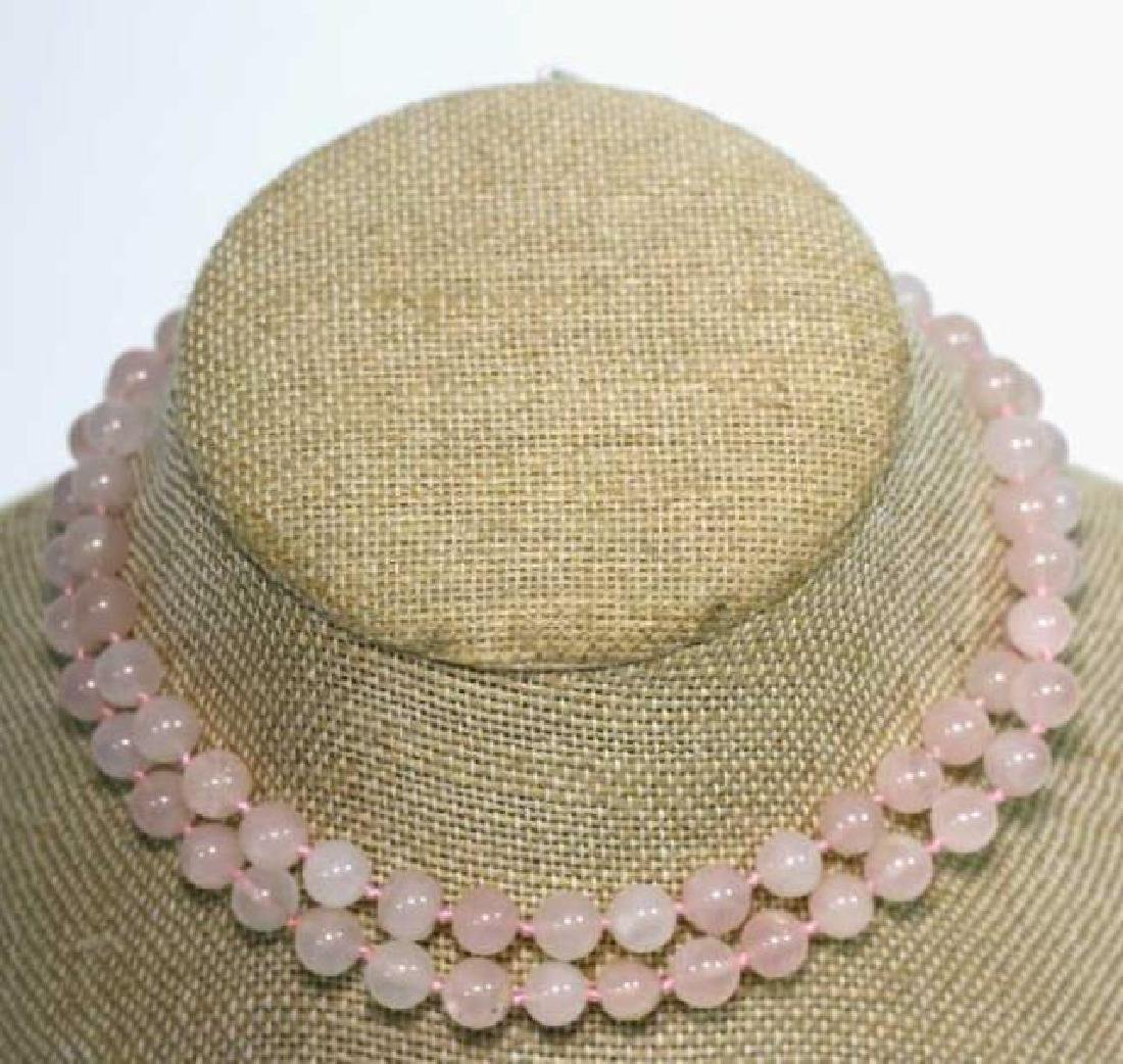 CHINESE HAND KNOTTED ROSE QUARTZ VINTAGE BEADS - 3