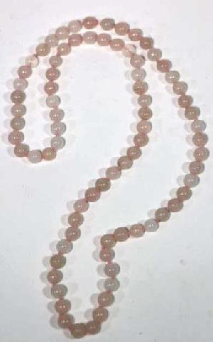 CHINESE HAND KNOTTED ROSE QUARTZ VINTAGE BEADS - 4