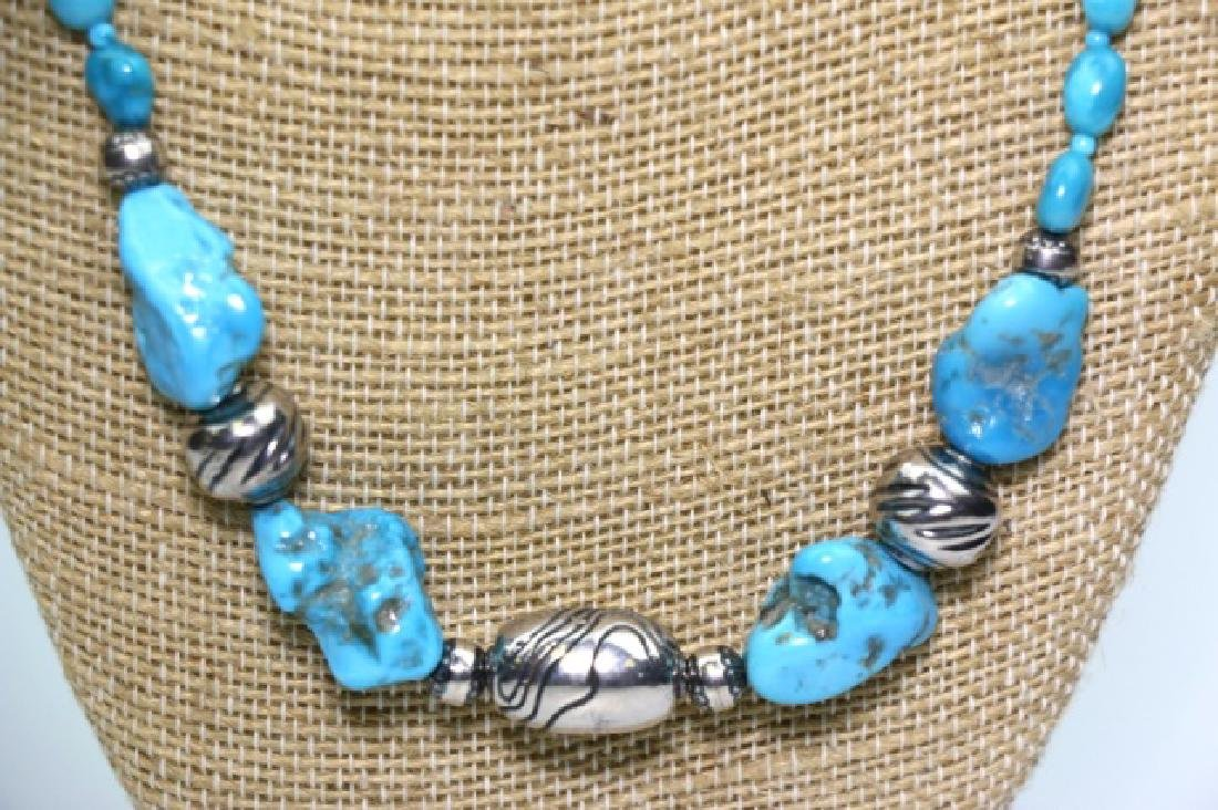 STERLING SILVER & TURQUOISE BEADED NECKLACE - 2