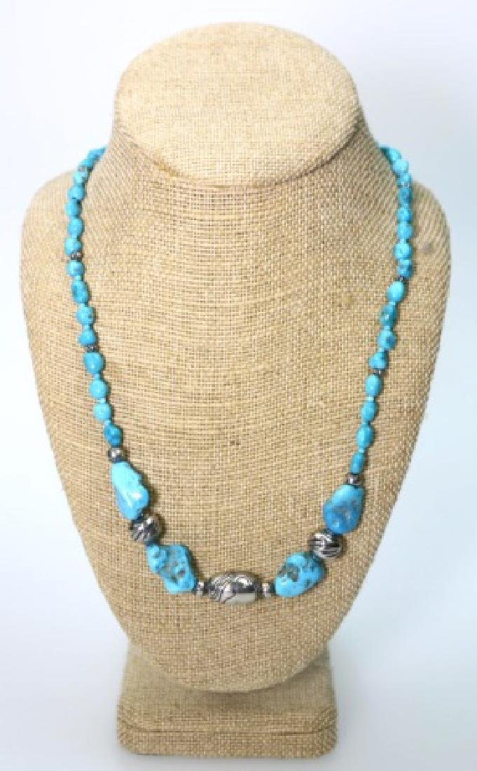 STERLING SILVER & TURQUOISE BEADED NECKLACE - 5