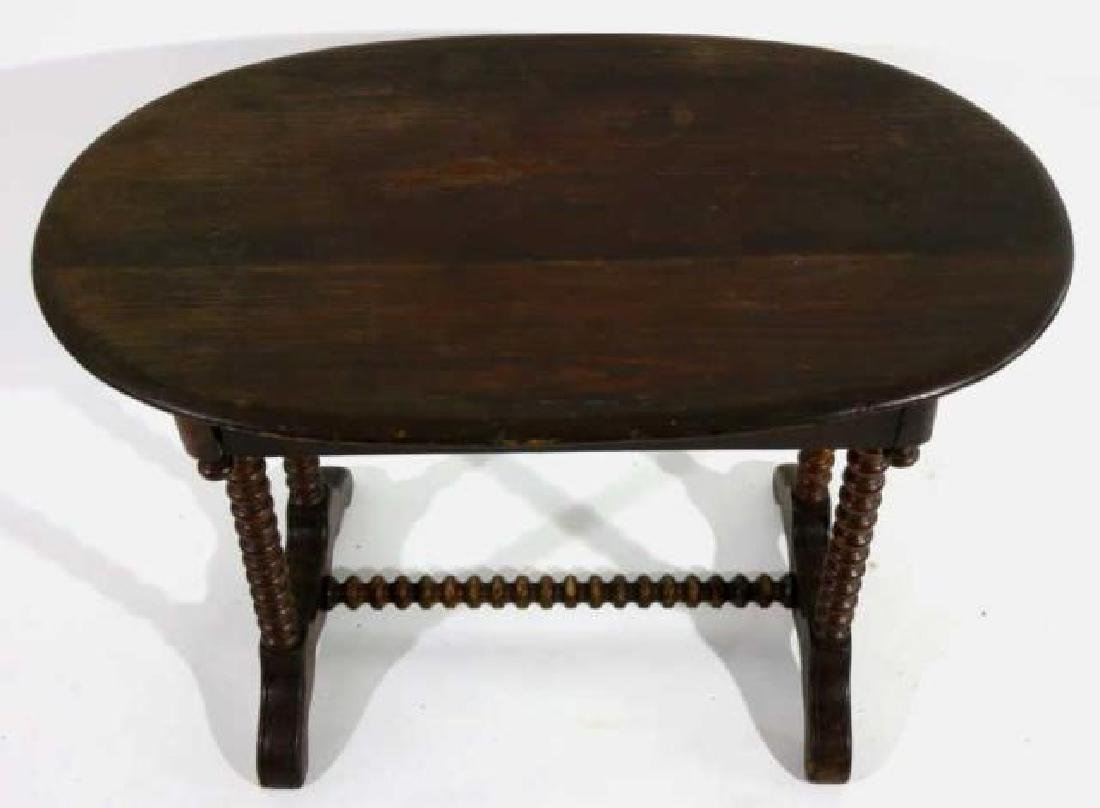AMERICAN ANTIQUE HAND TURNED SPINDLE TABLE - 3