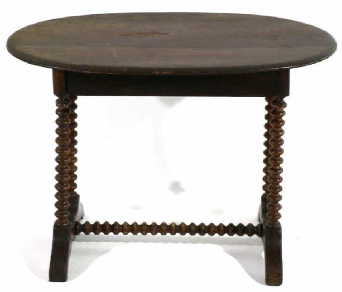 AMERICAN ANTIQUE HAND TURNED SPINDLE TABLE - 4
