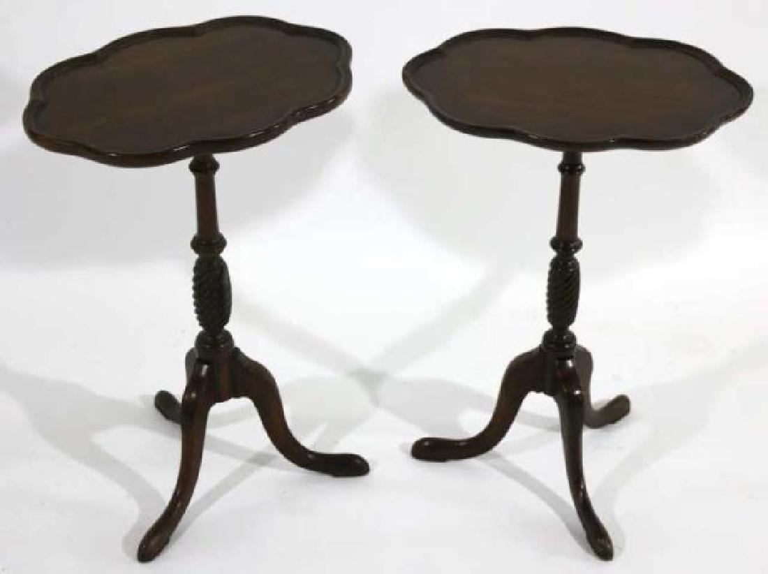 ANTIQUE MAHOGANY PAD FOOT SCALLOPED TRIPOD TABLE