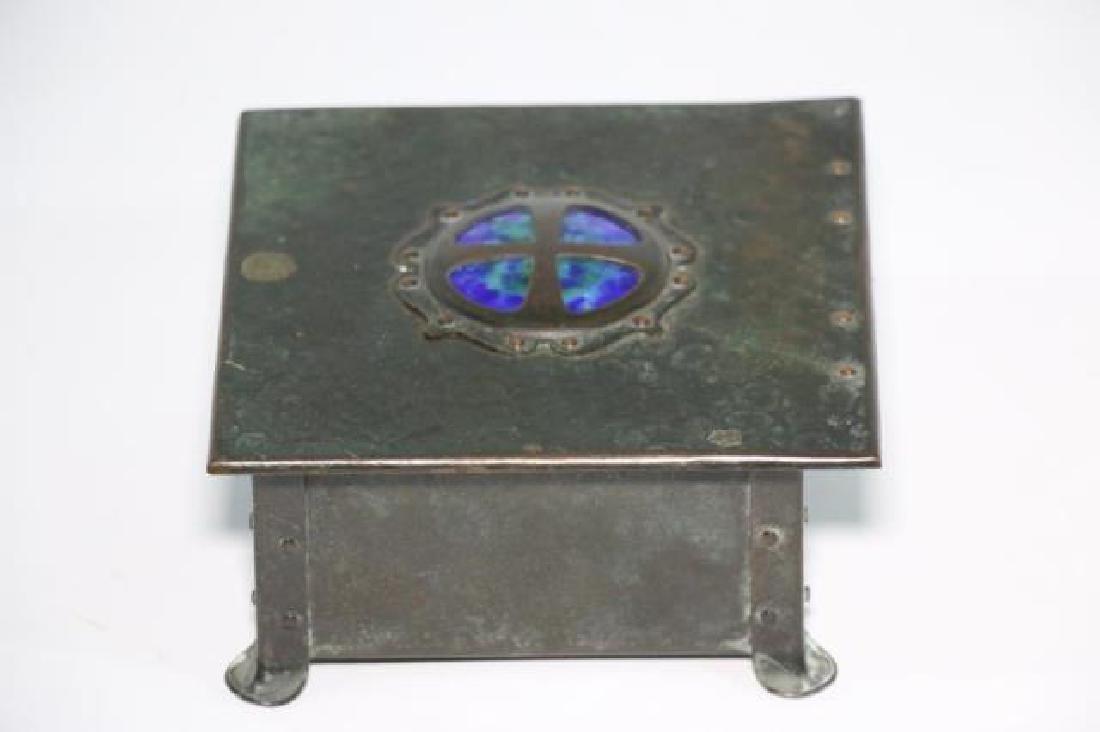 BRONZE INLAID ARTS & CRAFTS DRESSER BOX - 2