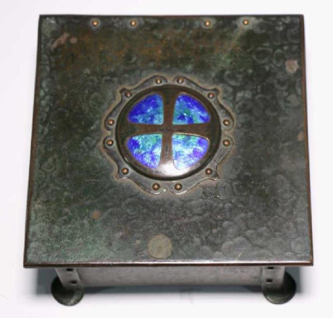 BRONZE INLAID ARTS & CRAFTS DRESSER BOX - 4