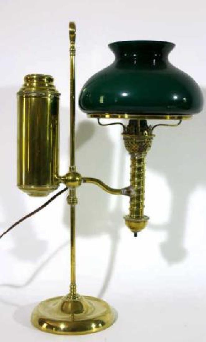 AMERICAN ANTIQUE BRASS ELECTRIFIED BRASS LAMP