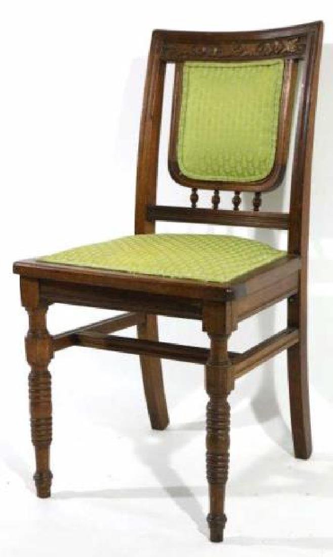 AMERCIAN ANTIQUE HAND CARVED OAK SIDE CHAIR