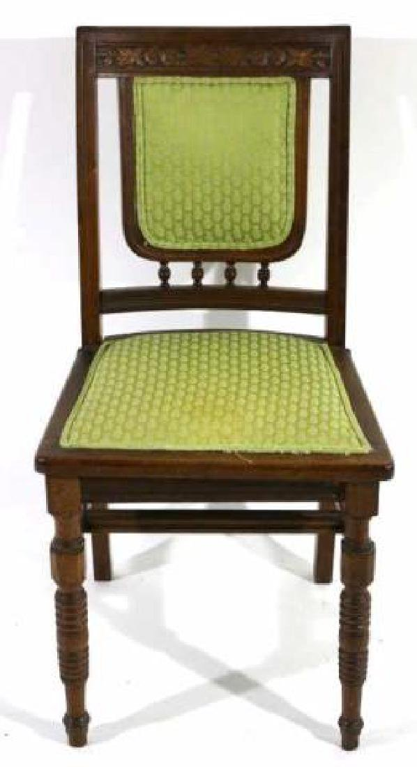 AMERCIAN ANTIQUE HAND CARVED OAK SIDE CHAIR - 3