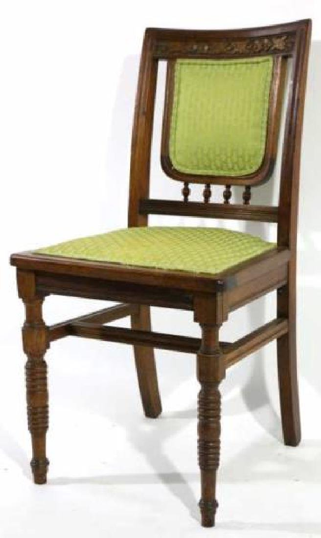 AMERCIAN ANTIQUE HAND CARVED OAK SIDE CHAIR - 4