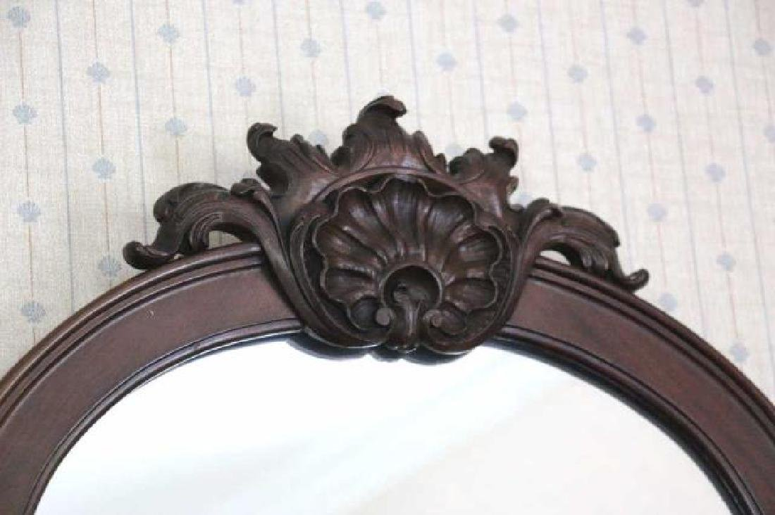 AMERICAN ANTIQUE MAHOGANY CRESTED MIRROR - 2