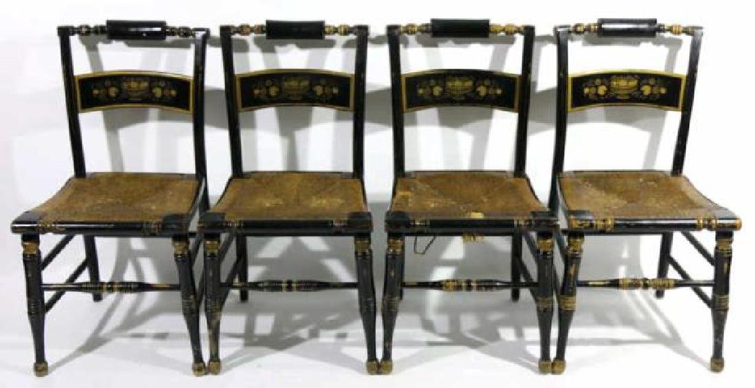 AMERCIAN ANTIQUE RUSH SEAT HIITCHCOCK CHAIR SET